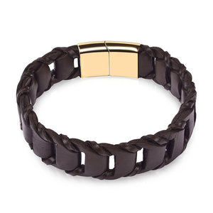 Jiayiqi Fashion Genuine Leather Bracelet for Men Brown Black Rope Chain Stainless Steel Clasp Magnetic Punk Jewelry Cool Gift - Icymen