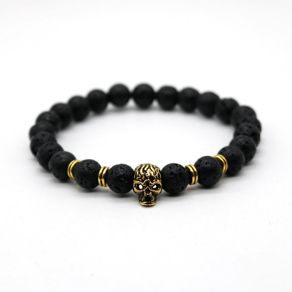 Antique Gold Color Skeleton Skull Bracelet Men With Black Lava Stone Bead Bracelets Pulseira Masculina HS-1 - Icymen