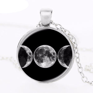Newest 2017 Triple Moon Goddess Pendant Witchcraft Jewelry Moon Goddess Necklaces Glass Dome Choker Necklace Moon Jewelery HZ1