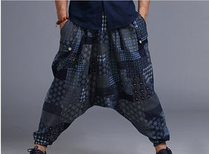 Indian Leisure man Yoga Wide Leg Pants Cotton Linen Loose Harem Pants Men plus size - Icymen