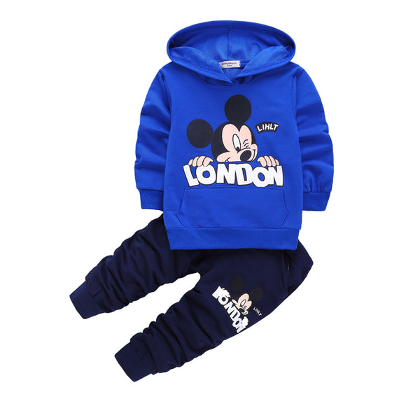 2018 spring autumn new kids 2pcs sport suits fashion baby boys girls mickey hoodies sport suit Children clothing set - Icymen