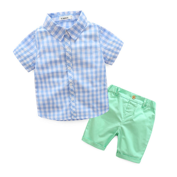 Boys Casual Clothing Sets New Style Fashion Children Summer Plaid Short Sleeve Shirt+Pant two piece Suit Set - Icymen
