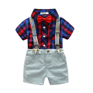 2Pcs New Summer Boy Clothes Sets Kids Clothing Gentleman Suit Plaid Short Sleeve Shirt+Suspender Shorts Children Outfit 3 Colors - Icymen