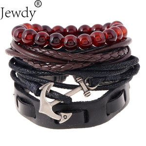 Jewdy lace up anchor bracelets for men women multi layer Buddha beaded 4pcs leather stacked bracelets set Statement Jewelry - Icymen