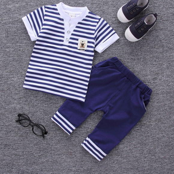 2018 children summer clothing kids casual Striped T-shirt+ pant 2Pcs/set boys fashion summer sets. - Icymen