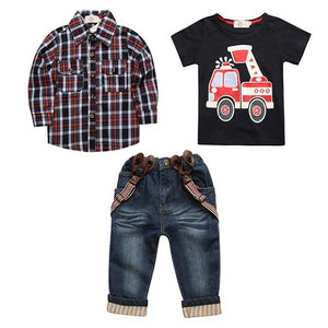 2018 Children's clothing sets for spring Baby boy suit Long sleeve plaid shirts+car printing t-shirt+jeans 3pcs suit  CCS350 - Icymen