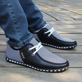 2018 Summer Autumn Striped Men Casual Shoes Size 39-47 Lightweight Men's Doug Shoes PU Leather Lace Up Male Flats 176 - Icymen