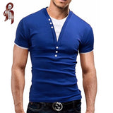 HEYKESON Male 2018 Short Sleeve Fake Two T Shirt V-Neck Slim Men T-Shirt Camisetas Fashion Hombre Tee Shirt Homme T Shirts 3XL - Icymen
