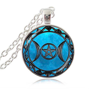 Triple Moon Goddess Pendant Pentagram Necklace Witch Jewelry Glass Dome Wiccan Necklace Silver Chain Charm Wicca Jewellery HZ1