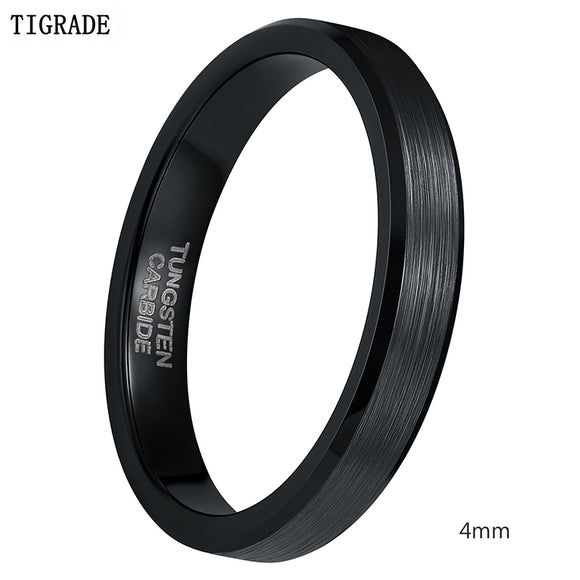 4mm 6mm 8mm Black Tungsten Cardide Ring Men High Polished Edges Wedding Band Engagement Rings For Women Male Jewelry Comfort Fit - Icymen