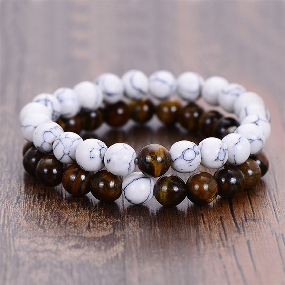 Natural Stone Men Bracelet Distance Classic White and Black 2Pcs Couples Yin Yang Beaded Bracelets For Women Jewelry Friend Gift