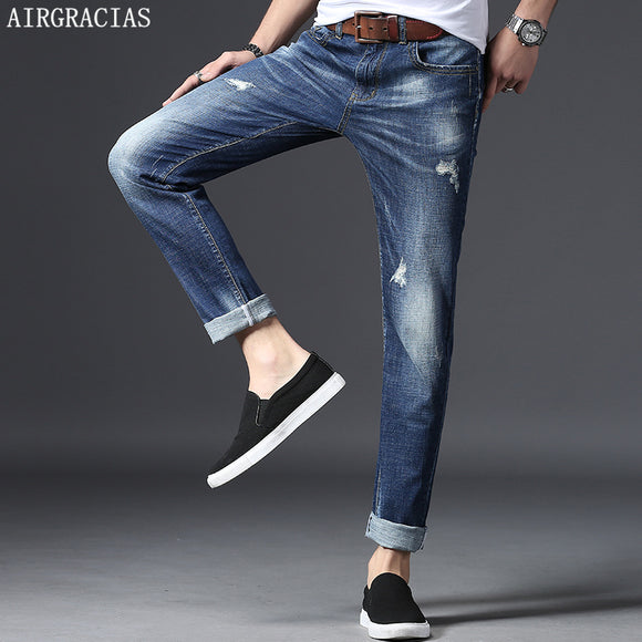 AIRGRACIAS Ripped Jeans Men Cotton Straight Classic Spring Autumn Male Denim Pants Men Blue Jeans High Quality 28-38 New Arrive - Icymen