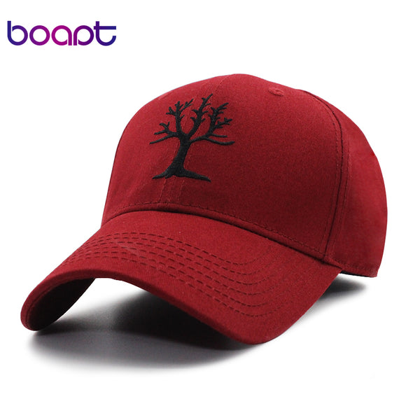 [boapt] tree of life pattern embroidery women's baseball caps men hats casual summer brand female cap snapback cotton dad hat