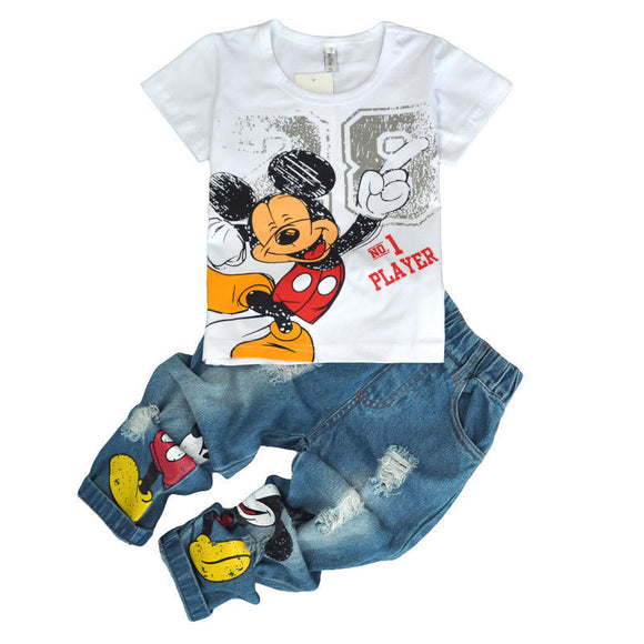 Children's Wear 2018 spring Summer Baby kids Boys Sports casual Suit Mickey boy T-shirt + Hole jeans 2pcs Set Children's Clothes - Icymen