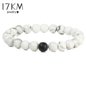 17KM Fashion 2 Color Distance Men Bracelet Jewelry For Men Women Fashion Stone Beads Yoga Fitness Fashion Energy Yoga Bracelets - Icymen