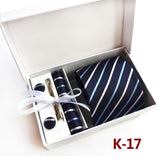 3.35inch(8 Cm) Wide Ensemble Silver Paisley Man Tie, Handkerchief, Pin and Cufflinks Gift Box Packing Many Color - Icymen