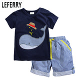 2018 New Summer Kids Clothes Children Clothing Baby Boy Clothes Set Toddler Baby Boys Clothing Set Cotton Knitted Striped Shorts - Icymen