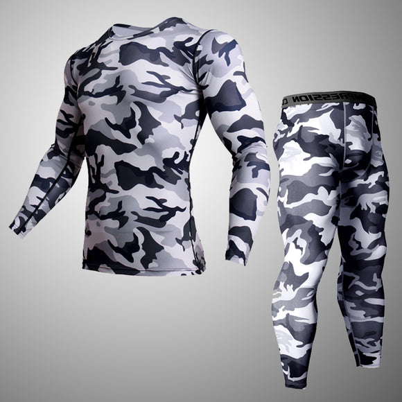 Men Boy Compression Base Layer Tight Top set Under Skin Long Sleeve Camouflage sets Men Quick Dry Camo Long Sleeve set