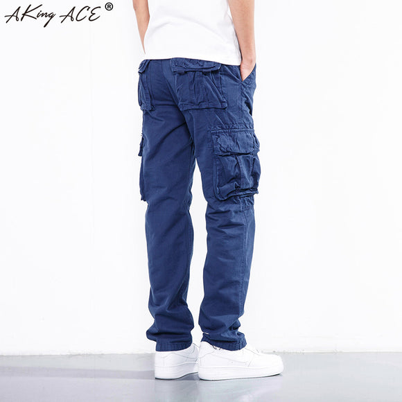 2018 NEW Fashion Mens baggy cargo pants multi pockets joggers for male Loose kargo pants military men pantalon, ZA335 - Icymen
