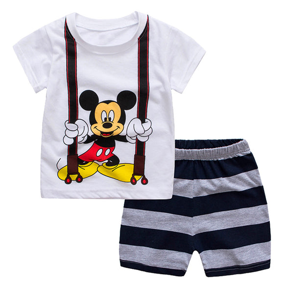 2018 Summer Children Clothing Sets Spiderman Mickey Kids Clothes Infantis Conjunto Menino Tracksuit for Boy Pajamas Sport Suits - Icymen