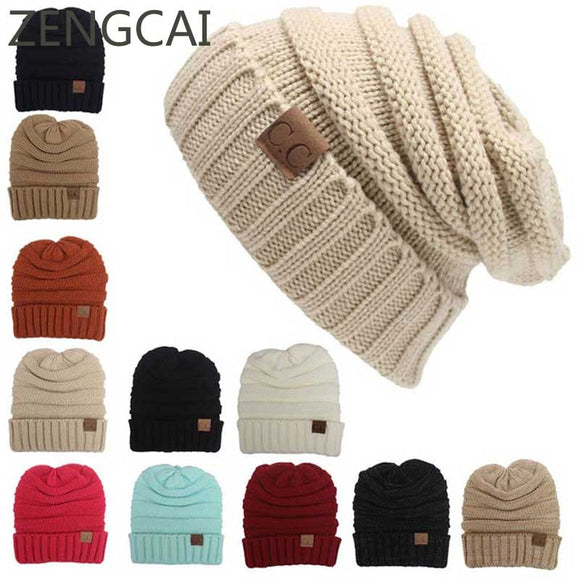 CC Beanies Hats & Caps Women Winter Knitted Wool Cap Men Casual Unisex Solid Color Hip-Hop Skullies Beanie Warm Hat - Icymen