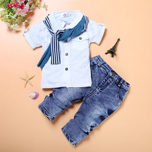 Boys Set Summer Short Sleeve Suit Fashion White T-shirt Jeans Pants Cool Boys Clothes Cotton Kids Clothes Active Style - Icymen