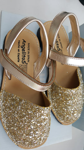 Angelitos sandals gold glitter