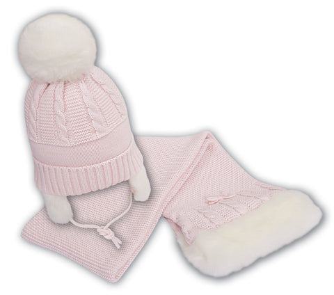 Sarah louise hat and scarf set 008139 pink