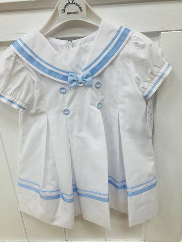 Sarah louise summer sailor dress white/blue c6003