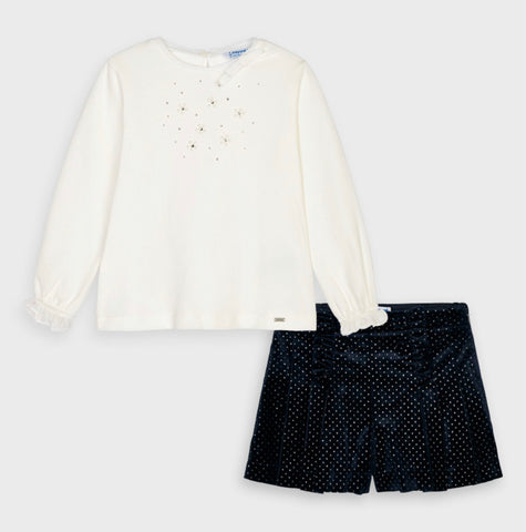 Mayoral velvet shorts set navy
