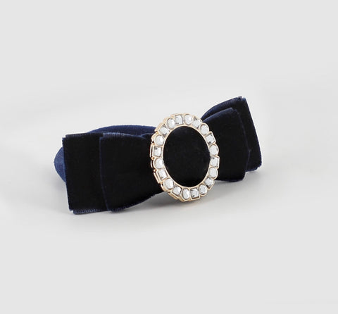 Abel and Lula navy velvet hair clip 5921
