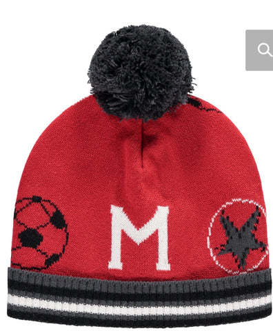 Mitch and son adrian winter red knitted hat