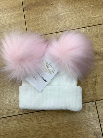 pom pom envy double knit white/pink
