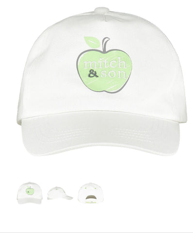 Mitch and son apple hat white ms21315