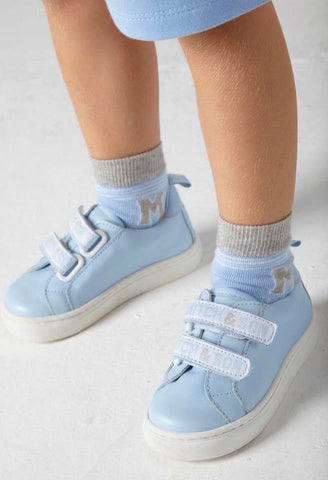 Mitch and son pale blue leather trainer ms13h