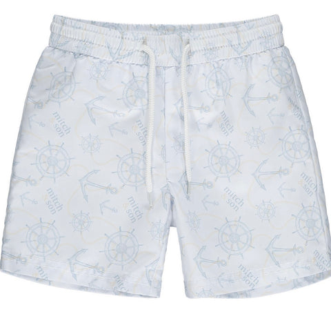 Mitch and son Bothwell white anchor swimshorts ms21115