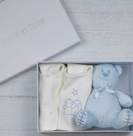 Emile et rose bib gift box blue