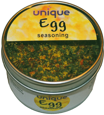 Scrambled Egg seasoning mix with fresh herbs and spices in 2.2 oz tin can