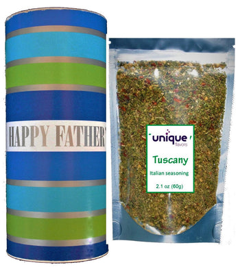 Happy Father's Day Gift Tube with Tuscany 2.1 oz Italian style seasoning bag