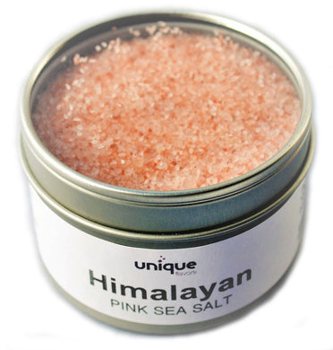 Himalayan pink sea salt in tin can
