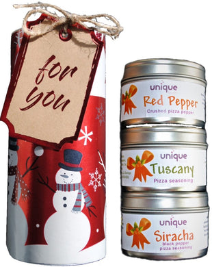 Christmas gift tube pizza spices and seasonings