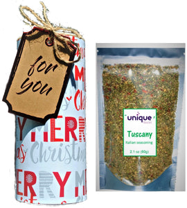 christmas gift box with tuscancy italian style  spice mix  by unique flavors llc
