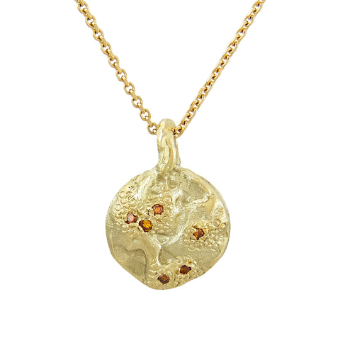 IXI Small Gold & Orange Diamond Pendant Necklace