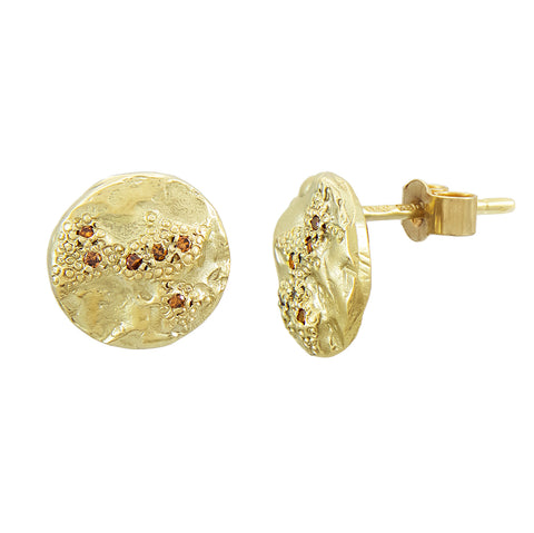 LXXXV Medium Gold & Orange Diamond Texture Circle Stud Earrings