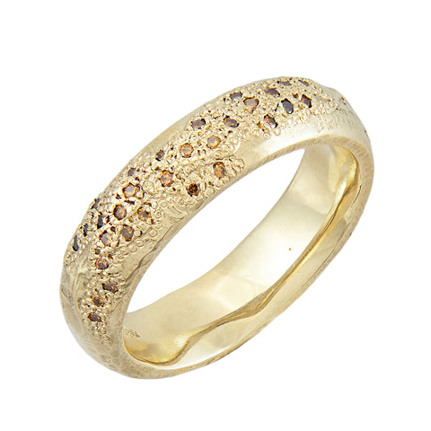 LXIVV Cognac Diamond Half Eternity Band Band