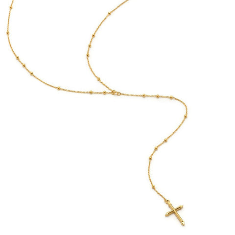 Cross Rosary Necklace in Gold