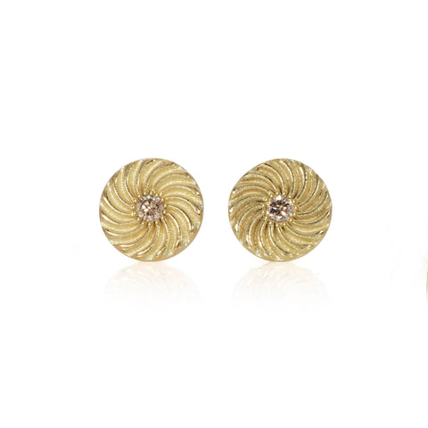 14kt Gold Kundalini Spiral Studs with Champagne Diamonds