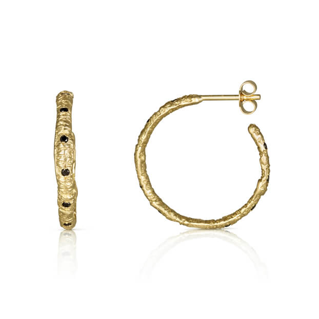 Straight Stitch Hoops with Black Diamonds