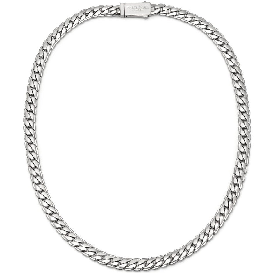 Flat Curb Chain Necklace in Silver