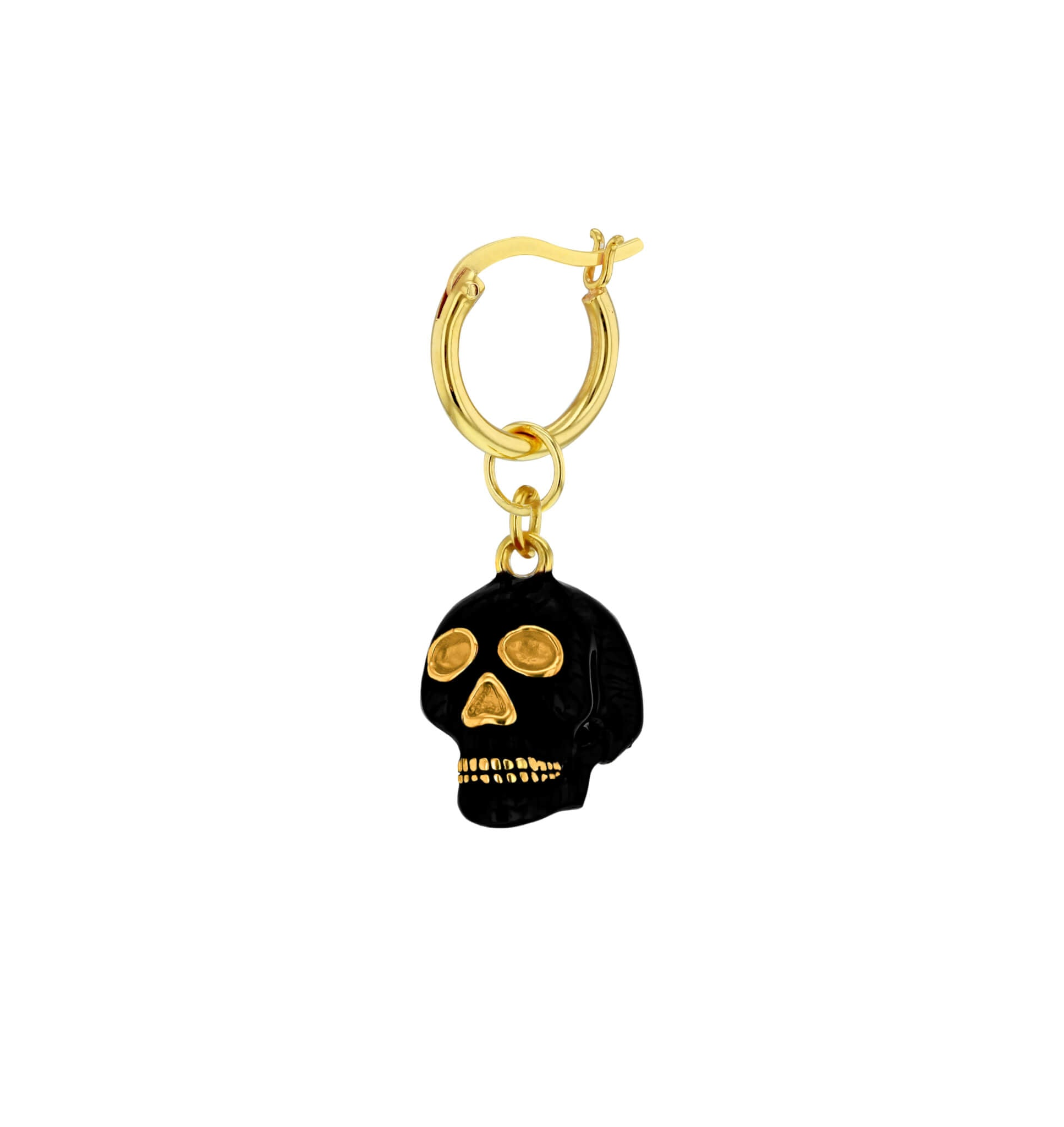 Skull Hoop Earring in Black and Gold